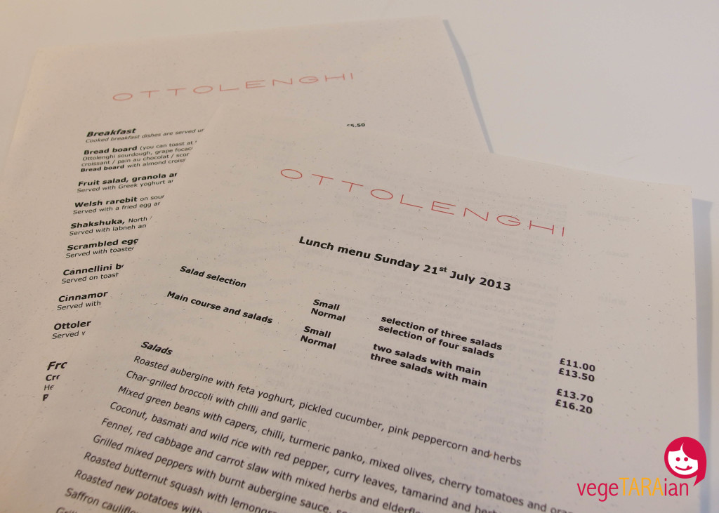 Menu at Ottolenghi, Islington