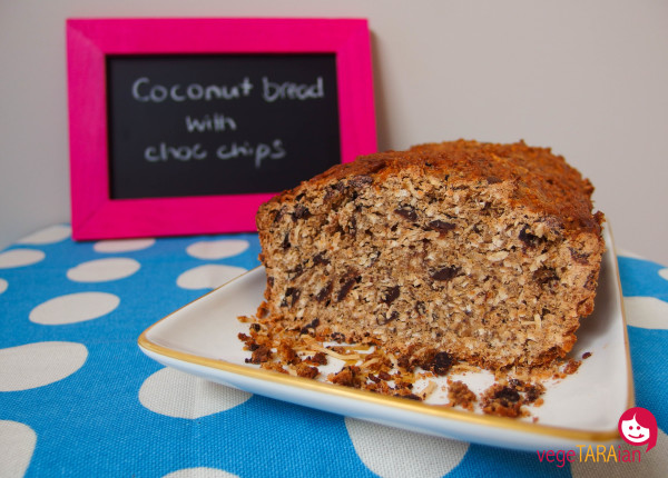 Vegan coconut bread with choc chips