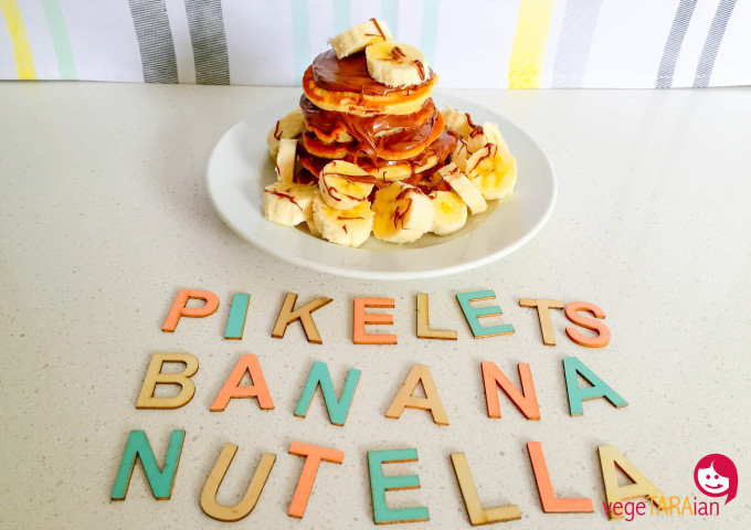 Coconut pikelets with banana and Nutella