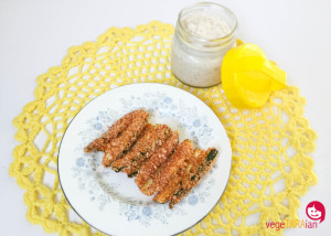 Zucchini fries with almond and soy dippy sauce