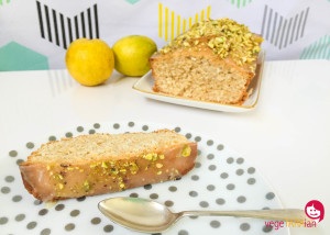 Lemon coconut loaf with lemon glaze and pistachios