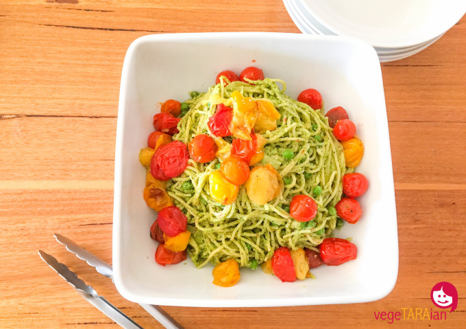 Minty pea pesto with spaghetti and roasted cherry tomatoes