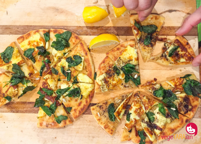 Haloumi and mint pizza