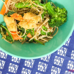 Asian noodle salad with tofu puffs