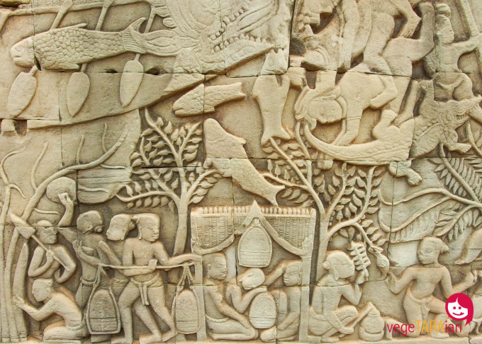 Angkor Thom wall carvings