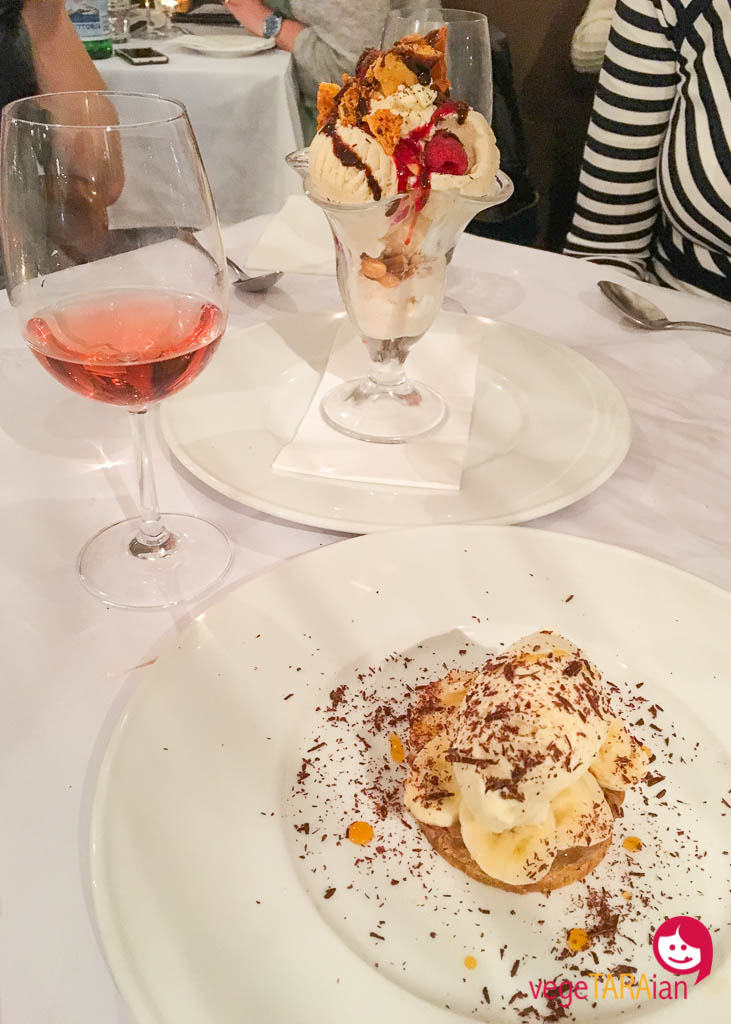 Colmar Estate Rosé honeycomb sundae and banoffee at Onesta Cucina, Bowral