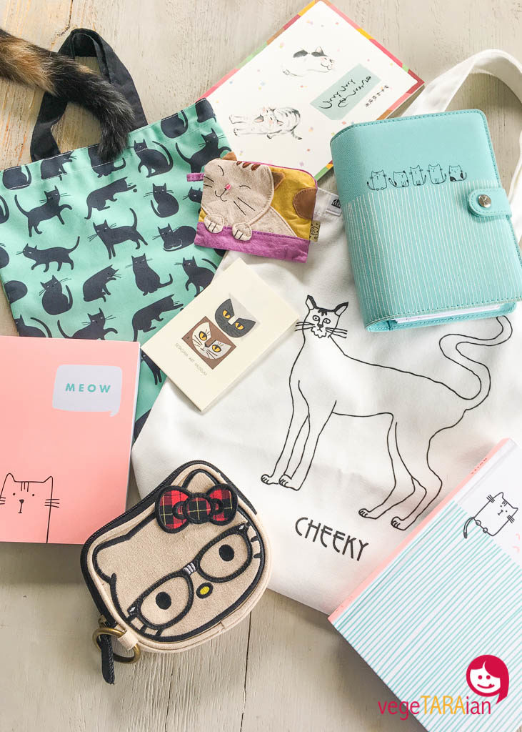 Cat bags and notebooks