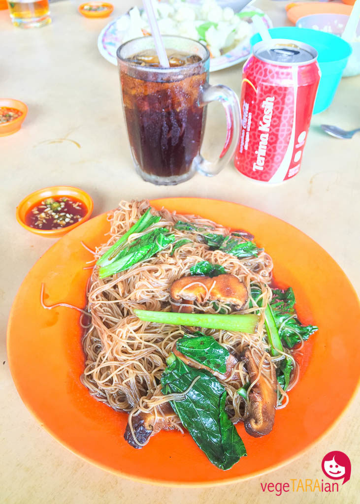 Vermicelli noodles with soy sauce, leafy greens and mushrooms in the Cameron Highlands, Malaysia