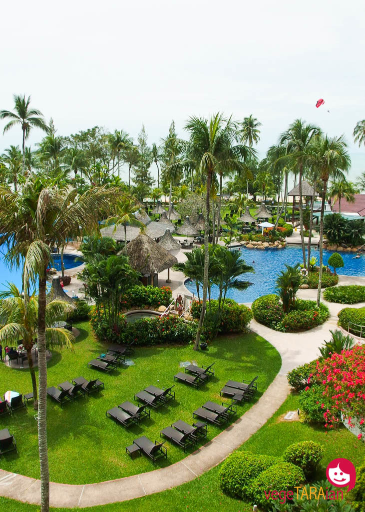 View of the pool from Golden Sands Resort in Penang, Malaysia