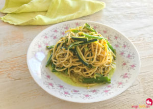 Pasta with green veg and vegan cacio e pepe